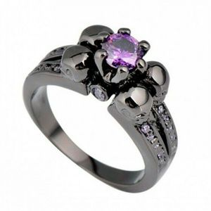 Jewelry - Gothic Ring – 4 Skulls & Purple Amethyst - Size 5